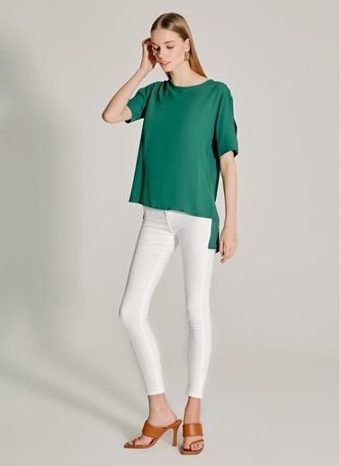 NGSTYLE Kol Dekolteli Bluz Yeşil